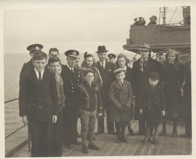 Dignitaries and students on board HMCS Oakville, November 5, 1941
