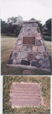 Stone cairn commemorating HMCS Oakville in Tannery Park dedicated by Lieut. Governor Lincoln Alexander in June 1989