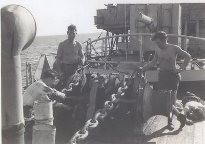 HMCS Oakville servicing of anchor winch