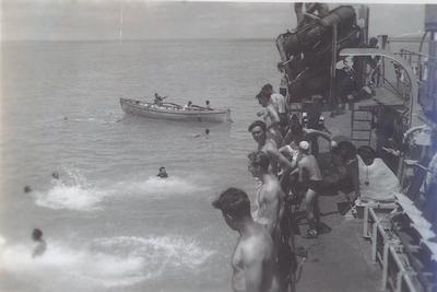 HMCS Oakville swim party in Bermuda