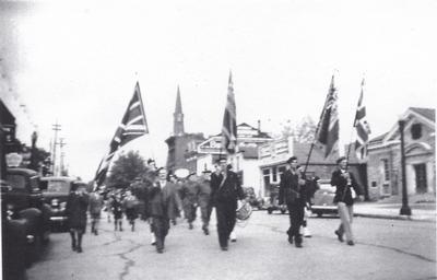HMCS Oakville's Christening Parade - Legion Colour Party