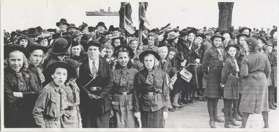 Citizens and military gather in Lakeside Park, Oakville - HMCS Christening Day November 5, 1941