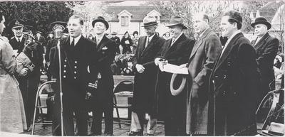 Lt. Cdr. A.C. Jones and dignitaries at March Past, November 5, 1941