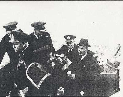 Admiral Nelles and Defence Minister MacDonald arriving at Oakville November 5, 1941