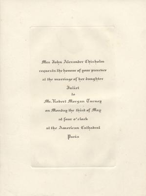 Juliet Chisholm's wedding invitation