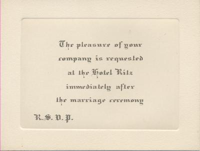 A card found within the wedding invitation