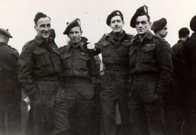 Members of the Lorne Scots 2nd Division of the Royal Canadian Army in Borden, England, 1941.