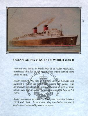 "Document titled ""Ocean-Going Vessels of World War II"" from the WWII Radar Reunion held in Calgary 1996 (1 of 3)."