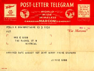 Telegram from Jimmie Gibb to Mrs. E. Gibb.