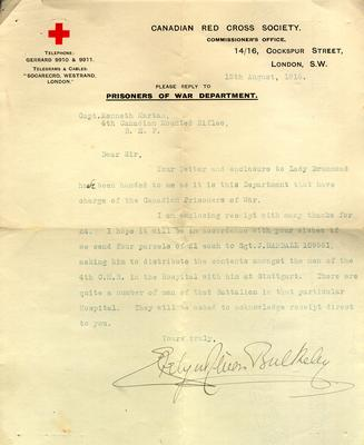 Letter sent to Captain Kenneth Dean Marlatt acknowledging receipt of his contribution to prisoners of war, 4th Canadian Mounted Rifles, in the hospital at Stuttgart, Germany.