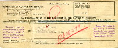 Notice of Call for military training for Ivan Mavrinac, 4 April 1941