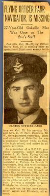 "Newspaper article: ""Flying Officer Farr Navigator, Is Missing"""