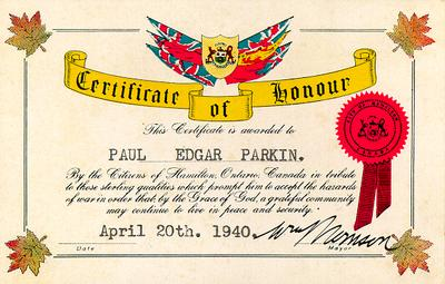 Certificate of Honour awarded to Paul Edgar Parkin by the citizens of Hamilton, Ontario for service in the Second World War.
