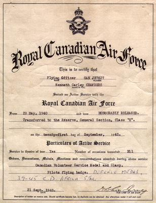 Royal Canadian Air Force certificate for Ken Chambers