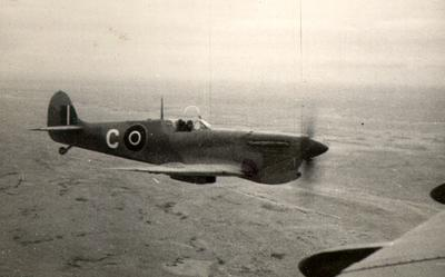 Spitfire in World War 1939-1945 on the way to Benghazi, Libya