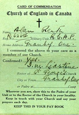 Card of Commendation from the Church of England in Canada for Alan G. Reith