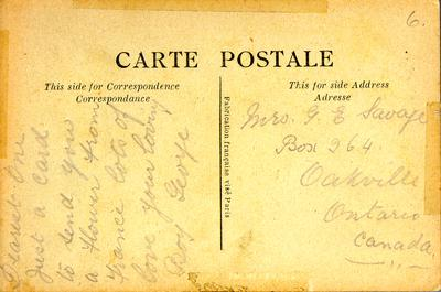Postcard from Private George Edward Savage to his wife, Alice Ada Savage