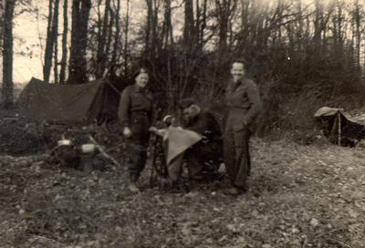 Second World War soldiers in Germany with sewing machine found in a tannery in 1945.