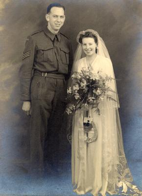 Alvin and Irene Bumby on their wedding day in England, March 16, 1943