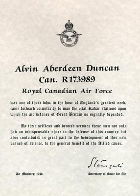 Royal Canadian Air Force document acknowledging the radar station service of Alvin Duncan during the Second World War
