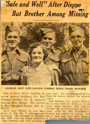Newspaper article: Safe and Well after Dieppe But Brother Still Missing - George, Roy, and Lockie Forbes with their mother