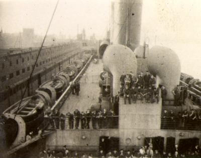 Troops being transported on the Duchess of York from Canada to Europe during the Second World War.
