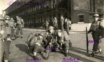Soldiers at Badajos Barracks, Aldershot, England (Jim Gibb, centre).