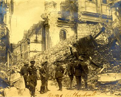 First World War scene showing Arras Cathedral, France