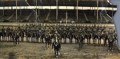4th Battalion Canadian Mounted Rifles at the CNE grounds in Toronto.