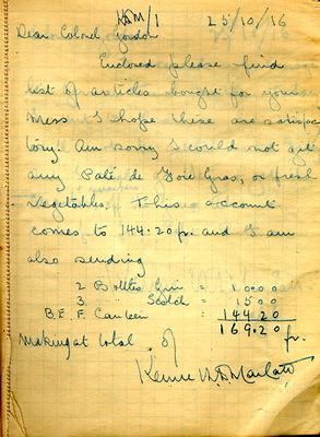 Page dated 15 October 1916 from the Army Book 152-Correspondence Book (Field Service) belonging to Kenneth Dean Marlatt