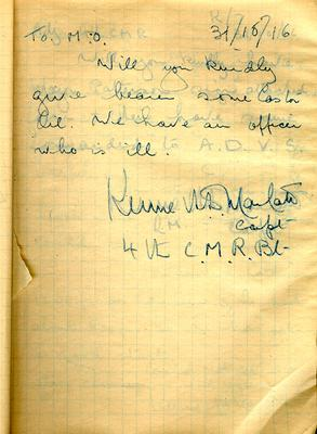 Page dated 31 October 1916, from the Army Book 152-Correspondence Book (Field Service) belonging to Kenneth Dean Marlatt