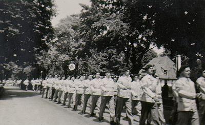 Oakville-Trafalgar Civil Guards parade on Colborne Street c. 1943