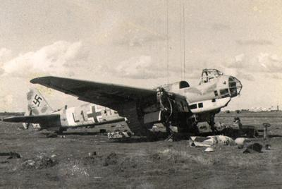 Junkers 88 damaged by bombs at Benina, Libya.
