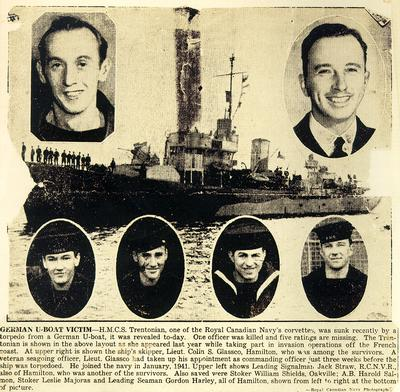 Newspaper article describing the sinking of the H.M.C.S. Trentonian by German U-boat