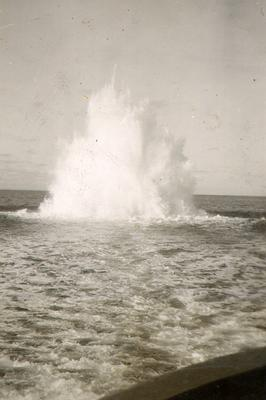 Depth charge fired from H.M.C.S. Kamloops