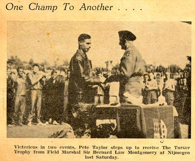 Newspaper clipping: Peter Taylor receiving The Turner Trophy from Field Marshall Sir Bernard Law Montgomery, August 1945, at the Maple Leaf Stadium in Nijmegen, Holland.