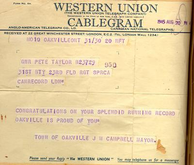 Cablegram of congratulations from Oakville Mayor JM Campbell to Peter Taylor, 20 August 1945.