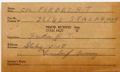 Acknowledgement of parcel received from Westwood Soldiers' Circle
