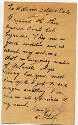Letter of thanks to Westwood Soldiers' Circle from W. Philip
