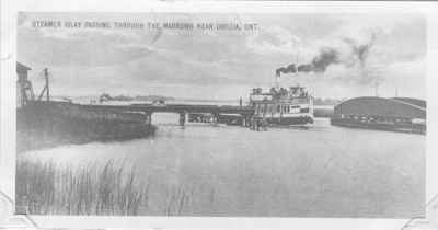 """The steamer """"Islay"""" passing through the Narrows"""