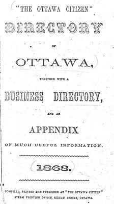 Directory of Ottawa ... 1863