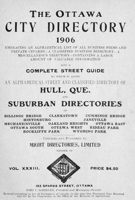 1906 Ottawa City Directory