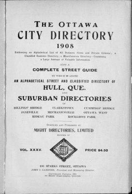 1908 Ottawa City Directory