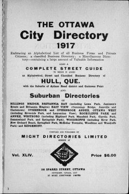 1917 Ottawa City Directory