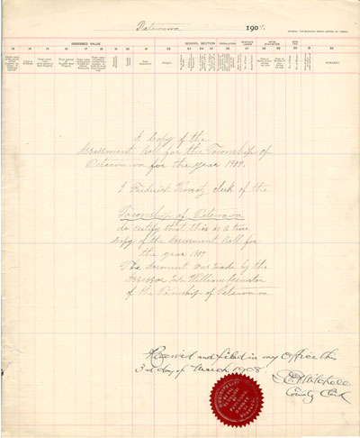 1907 Assessment Roll for the Township of Petawawa