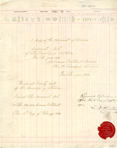 1902 Assessment Roll for the Township of Petawawa