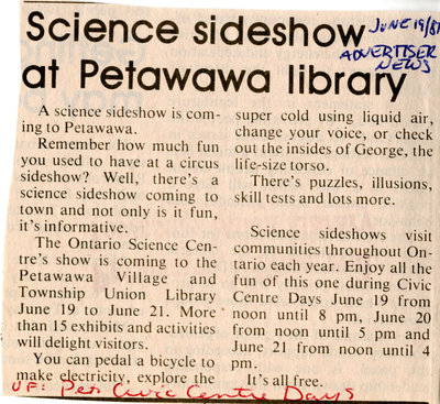 Science sideshow at Petawawa Public Library