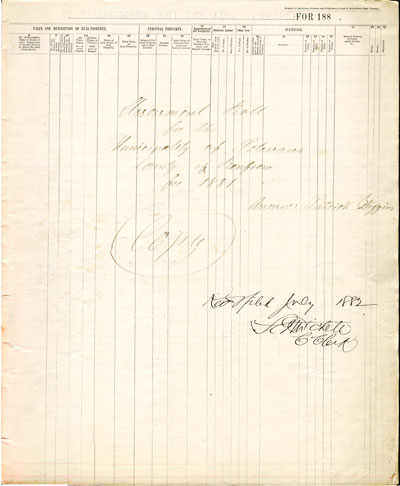 1882 Assessment Roll for the Township of Petawawa