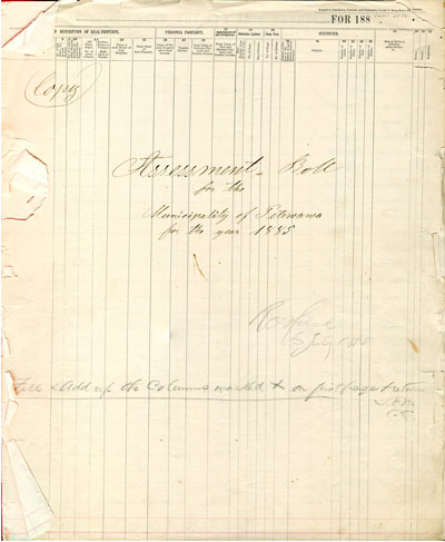 1885 Assessment Roll for the Township of Petawawa
