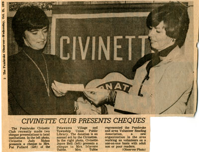 Civinette Club Presents Cheques
